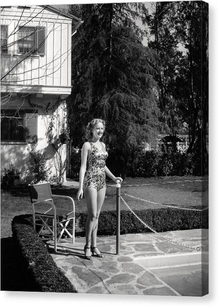 Bikini Canvas Print - Betty Grable by Silver Screen