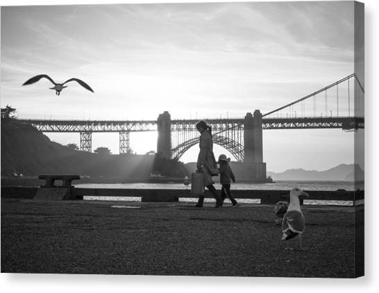 Golden Gate Bridge Canvas Print - Birds Of The Bay by Casey Merrill