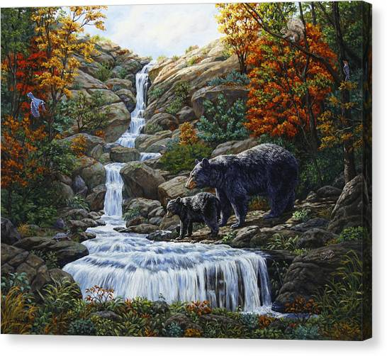 Black Bears Canvas Print - Black Bear Falls by Crista Forest