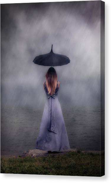 Rain Canvas Print - Black Umbrella by Joana Kruse