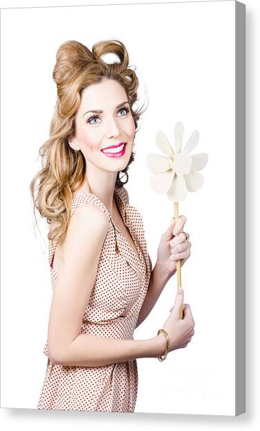 Bare Shoulder Canvas Print - Blonde Girl Holding Windmill Fan. Natural Energy by Jorgo Photography - Wall Art Gallery