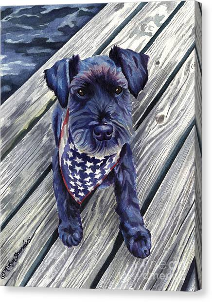 Schnauzers Canvas Print - Black Dog On Pier by Robyn Saunders