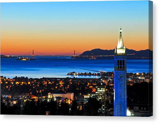 Uc Berkeley Canvas Print - Blue Campanile And Golden Gate At Sunset by Joel Thai
