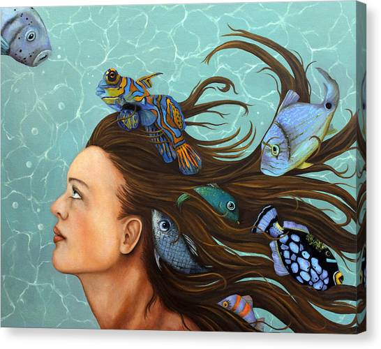Gobi Canvas Print - Blue Fish by Leah Saulnier The Painting Maniac