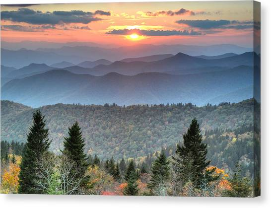 Blue Ridge Mountains Sunset Canvas Print by Mary Anne Baker