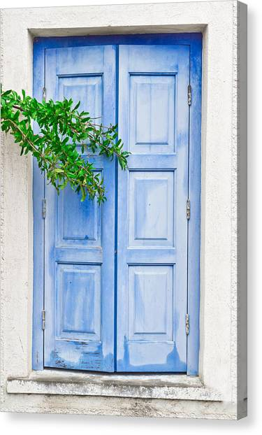 Door Canvas Print - Blue Shutter by Tom Gowanlock