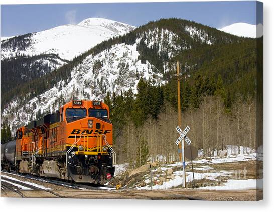 Bnsf Rolls Through Rollins Pass Colorado Canvas Print