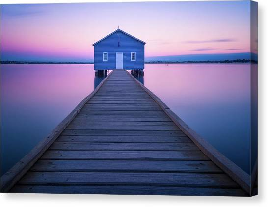 Long Wharf Canvas Print - Boathouse by Richard Vandewalle