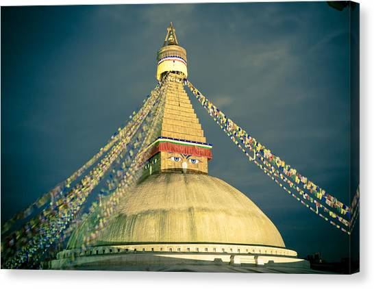 Bodhnath Stupa At Night In Kathmandu Canvas Print