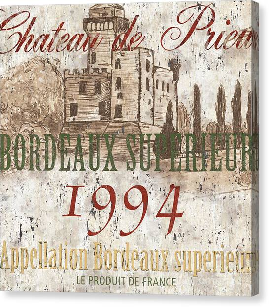 Winery Canvas Print - Bordeaux Blanc Label 2 by Debbie DeWitt