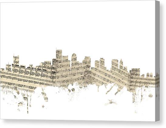 Boston Skyline Canvas Print - Boston Massachusetts Skyline Sheet Music Cityscape by Michael Tompsett
