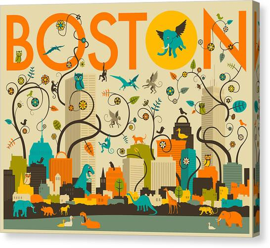 Boston Canvas Print - Boston Skyline by Jazzberry Blue
