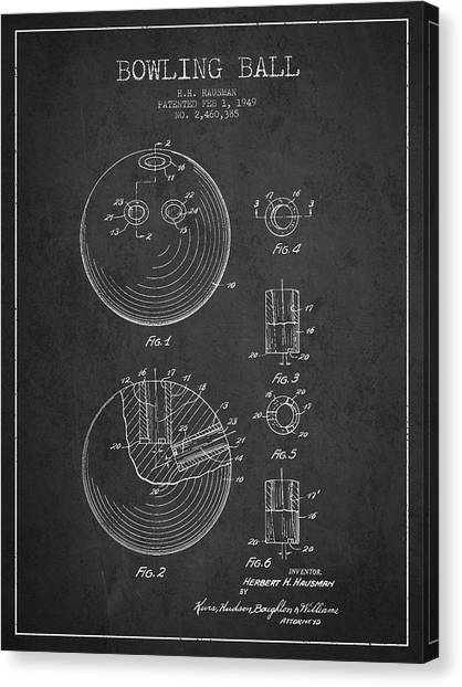 Bowling Ball Canvas Print - Bowling Ball Patent Drawing From 1949 by Aged Pixel