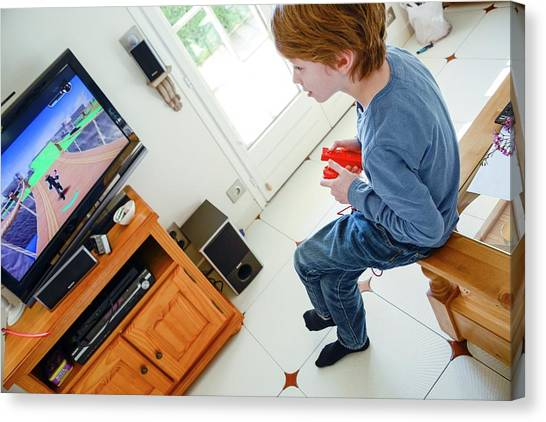 Gaming Consoles Canvas Print - Boy Playing Wii Video Game by Aj Photo