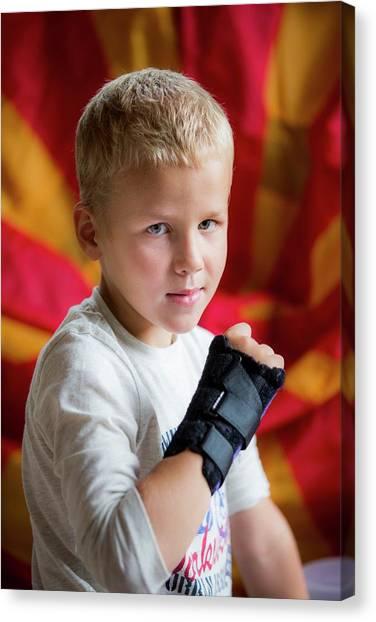 Braces Canvas Print - Boy With Brace On Broken Wrist by Samuel Ashfield