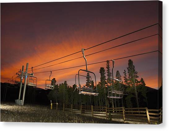 Breckenridge Chairlift Sunset Canvas Print