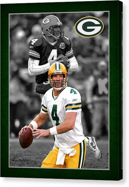 Superbowl Canvas Print - Brett Favre Packers by Joe Hamilton