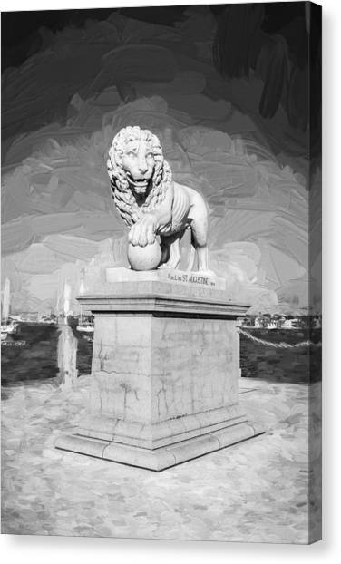 City Sunrises Canvas Print - Bridge Of Lions St Augustine Florida Painted Bw   by Rich Franco