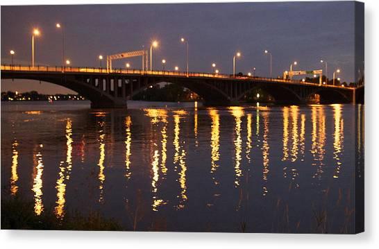Bridge Over Water Canvas Print by Jocelyne Choquette