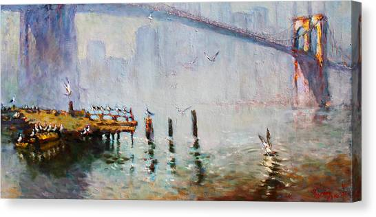 Seagulls Canvas Print - Brooklyn Bridge In A Foggy Morning   by Ylli Haruni