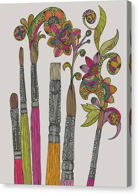 Paint Canvas Print - Brushes by Valentina