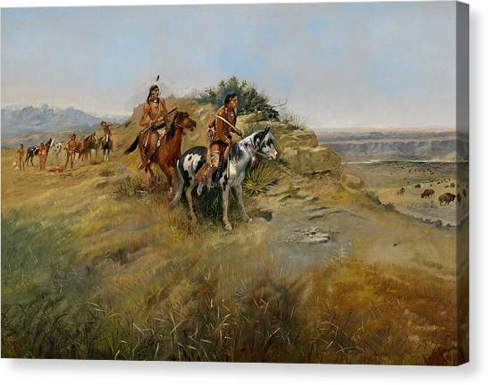 Horseback Riding Canvas Print - Buffalo Hunt by Charles Marion Russell