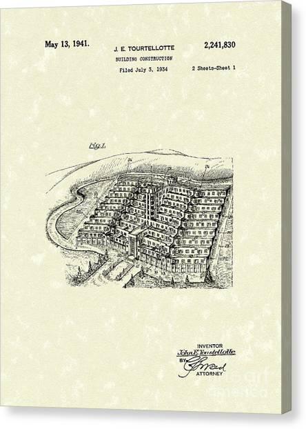 Building Construction 1941 Patent Art Canvas Print by Prior Art Design