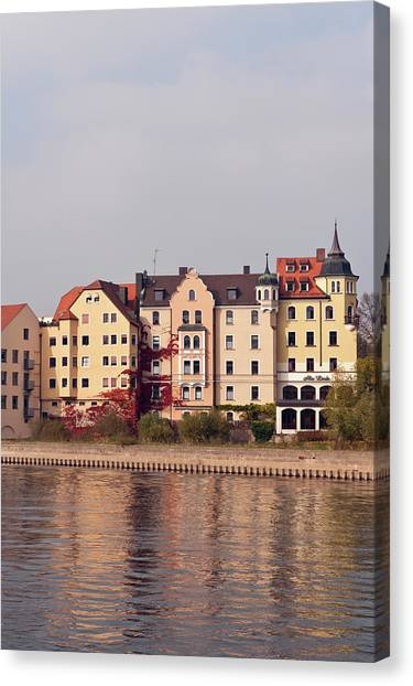 Danube Canvas Print - Buildings On The Danube River by Michael Defreitas