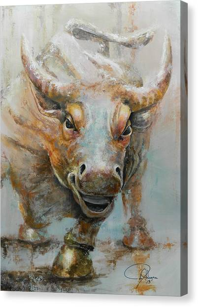 Money Canvas Print - Bull Market W Redo by John Henne
