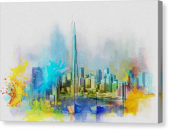Dubai Skyline Canvas Print - Burj Khalifa Skyline  by Corporate Art Task Force