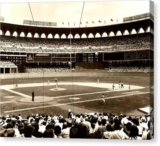 Philadelphia Phillies Canvas Print - Busch Stadium - St Louis 1966 by Mountain Dreams