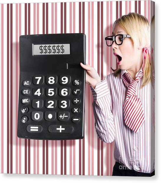 Keypad Canvas Print - Business Woman Holding Money Savings Calculator by Jorgo Photography - Wall Art Gallery