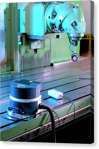 Calibrating A 3d Measurement Machine Canvas Print by Andrew Brookes, National Physical Laboratory/science Photo Library