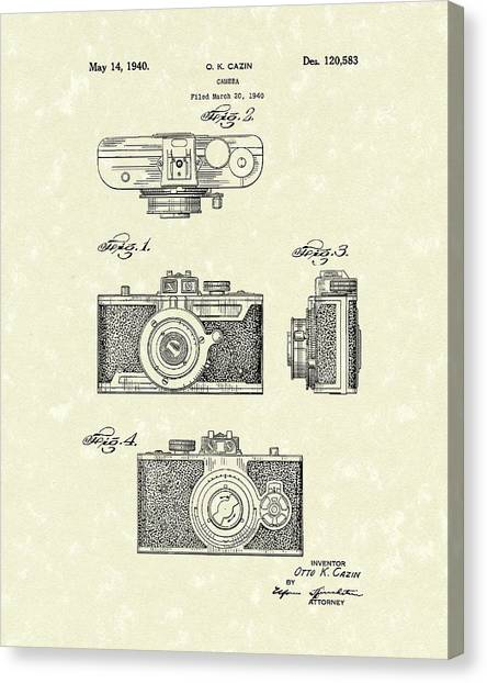 Canvas Print featuring the drawing Camera 1940 Patent Art by Prior Art Design