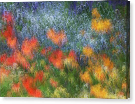 New Brunswick Canvas Print - Canada Abstract Blur Of Garden Colors by Jaynes Gallery