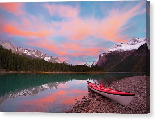 Kayaks Canvas Print - Canada, Alberta, Jasper National Park by Gary Luhm