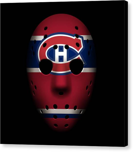 Montreal Canadiens Canvas Print - Canadiens Goalie Mask by Joe Hamilton