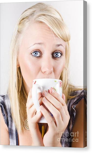 Sweet Tea Canvas Print - Candid Portrait Of Woman Enjoying Hot Beverage by Jorgo Photography - Wall Art Gallery