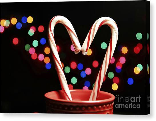 Candy Cane Heart Canvas Print