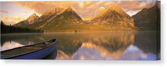 Wy Canvas Print - Canoe Leigh Lake Grand Teton National by Panoramic Images