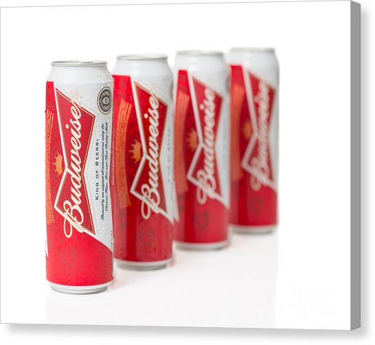 Lager Canvas Print - Cans Of Budweiser Beer by Amanda Elwell