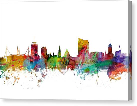 Wales Canvas Print - Cardiff Wales Skyline by Michael Tompsett