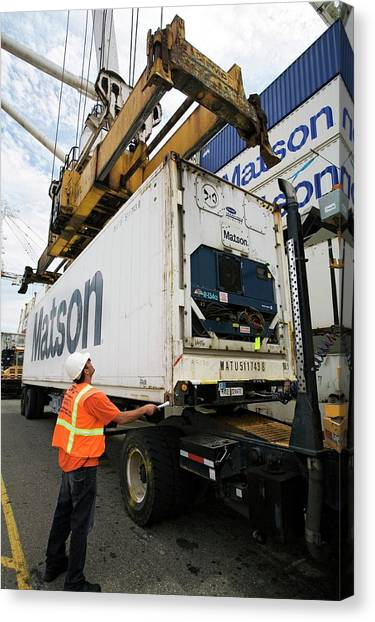 Hard Hat Canvas Print - Cargo Container Being Loaded by Jim West