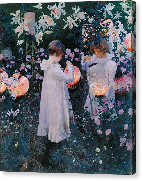 Canvas Print featuring the painting Carnation Lily Lily Rose by John Singer Sargent