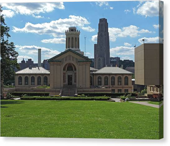 Carnegie Mellon University Canvas Print - Carnegie Mellon And The Cathedral Of Learning by Cityscape Photography