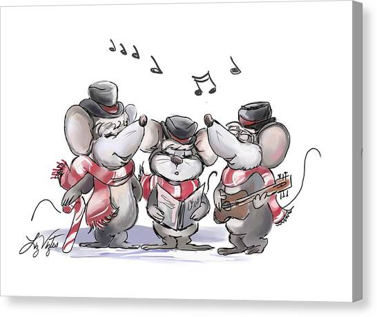 Caroling With Mic Mac And Moe Canvas Print