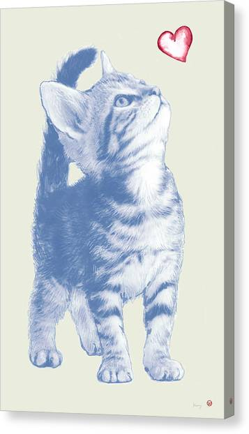Cats Canvas Print - Cat With Love Hart Pop Modern Art Etching Poster by Kim Wang