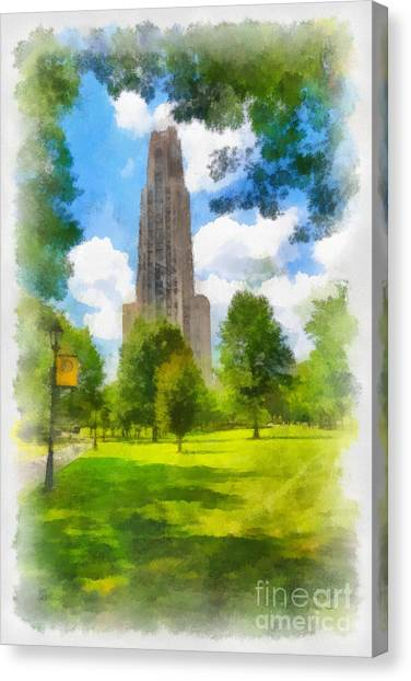 Oakland University Canvas Print - Cathedral Of Learning University Of Pittsburgh by Amy Cicconi