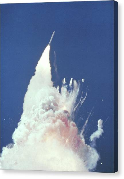 Space Shuttle Canvas Print - Challenger Disaster by Nasa/science Photo Library