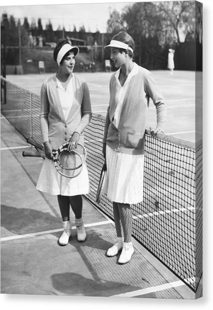 Tennis Racquet Canvas Print - Champion Helen Wills Moody by Underwood Archives